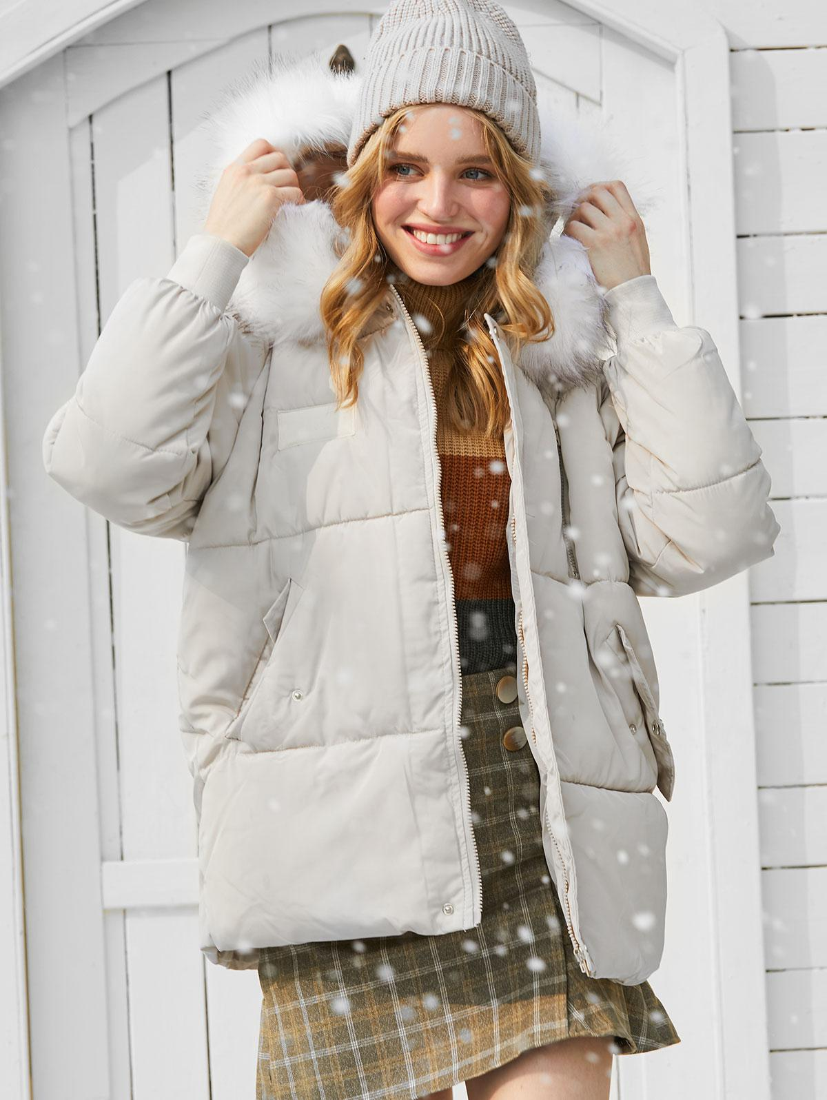 Flap Pocket Puffer Coat with Faux Fur Hood