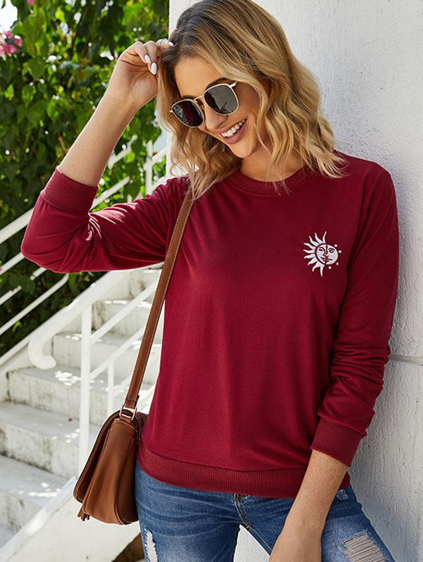 Pullover Funny Sun Embroidered Sweatshirt
