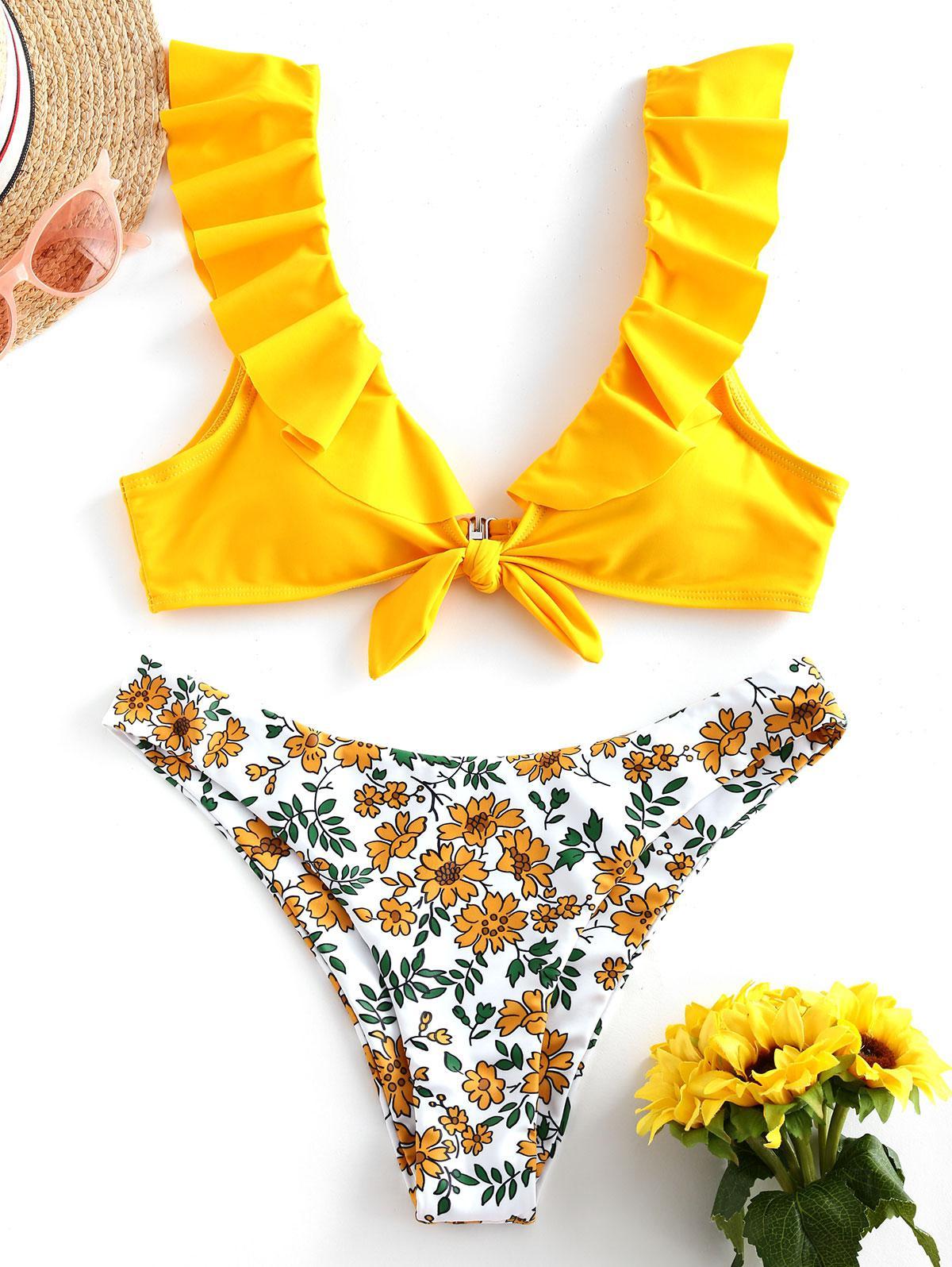 ZAFUL Flower Ruffle Tied High Leg Bikini Swimsuit фото