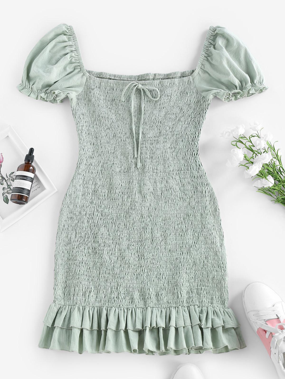 ZAFUL Smocked Bowknot Mermaid Mini Dress thumbnail