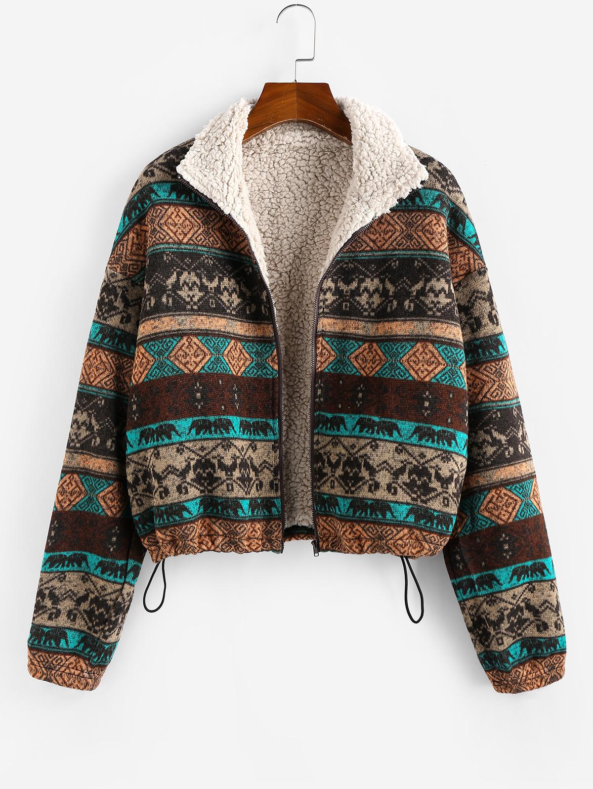 ZAFUL Tribal Print Plaid Faux Fur Lined Jacket