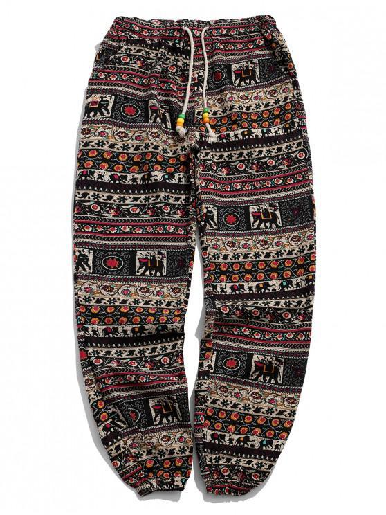 fashion Ethnic Tribal Ditsy Graphic Print Casual Jogger Pants - MULTI-C S
