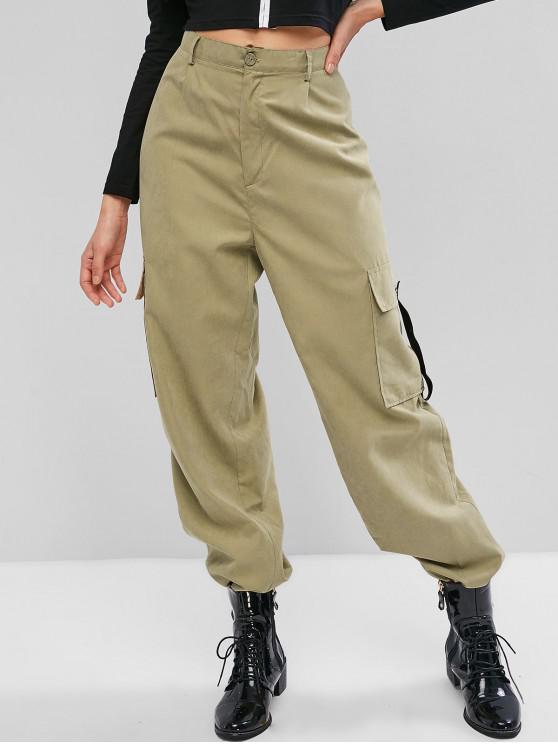 women's ZAFUL Side Pocket Zip Fly High Waisted Jogger Pants - KHAKI L