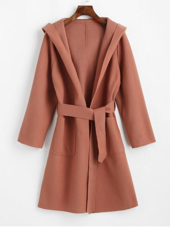 new Hooded Open Front Patched Pockets Longline Coat - ORANGE PINK L