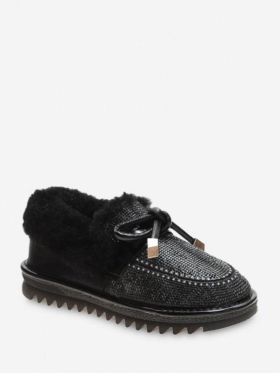 BOWKNOT لامعة حجر الراين الكاحل أحذية الثلج - أسود الاتحاد الأوروبي 40