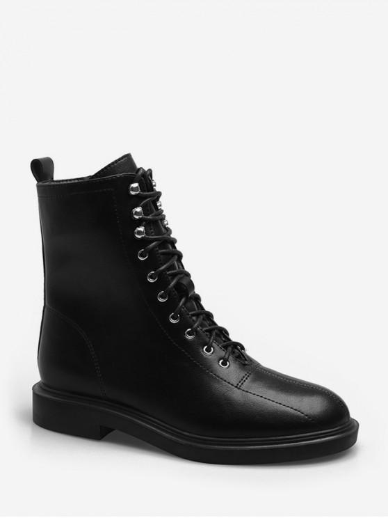 系帶純色貨物筒靴 - 黑色 歐盟39