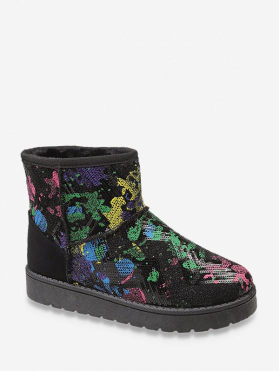 women Splatter Paint Sequined Snow Boots - BLACK EU 39