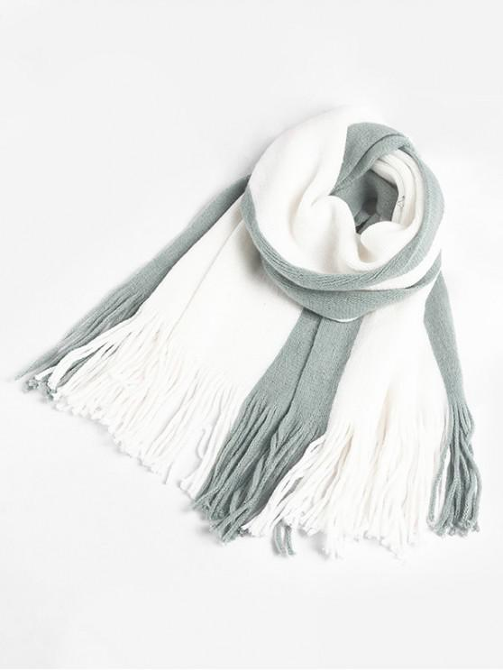 fashion Tassel Design Color Blocking Scarf - PALE BLUE LILY