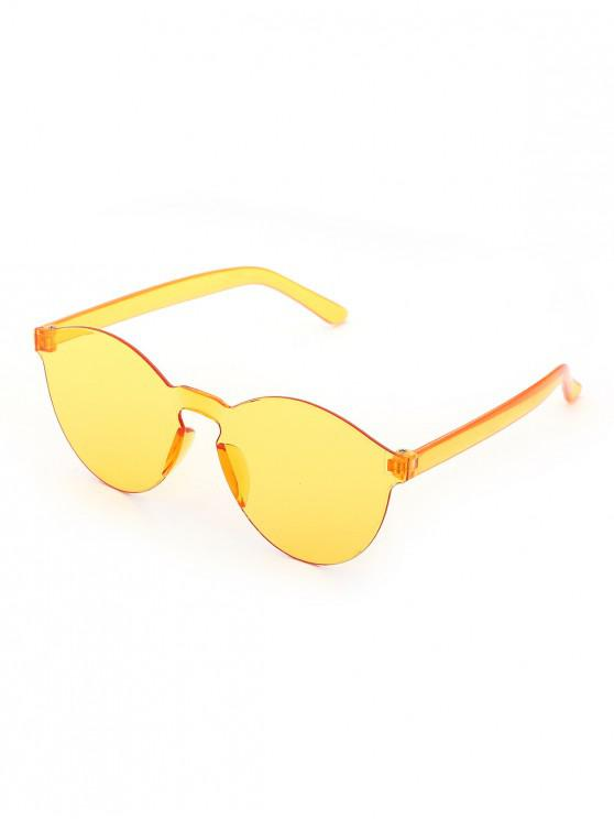 affordable Brief One-piece Transparent Sunglasses - YELLOW