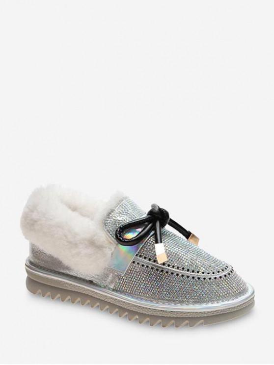 蝴蝶結閃亮水鑽踝雪地靴 - 米色 歐盟38