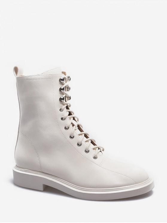 系帶純色貨物筒靴 - 米色 歐盟37