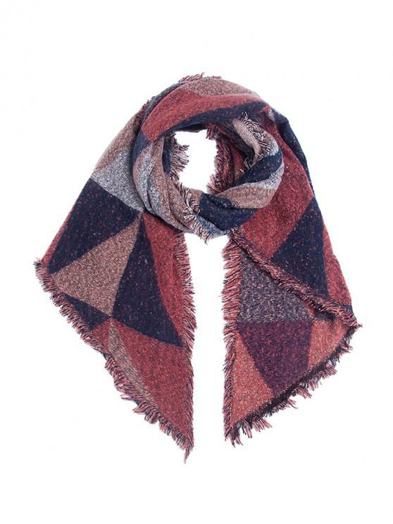 fancy Geometric Pattern Fringed Decorated Scarf - RED