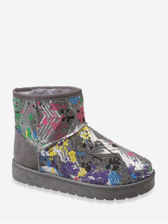 飛濺油漆亮片雪地靴 - 灰色 歐盟37