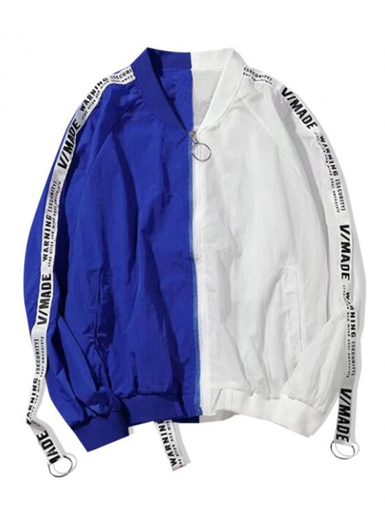 shops Letter Pattern Colorblock Zip Up Jacket - WHITE L