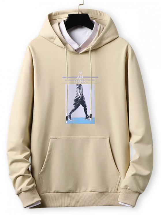 chic Letter Striped Character Print Casual Hoodie - KHAKI L