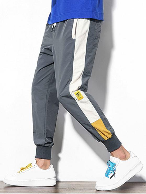 Pantalones Jogger Casual de Empalme de Color Bloque - Gris Oscuro XS