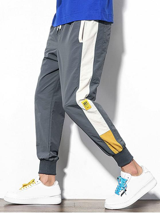 sale Color Block Splicing Applique Casual Jogger Pants - DARK GRAY S