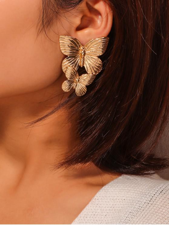 金屬復古蝴蝶耳環 - 金