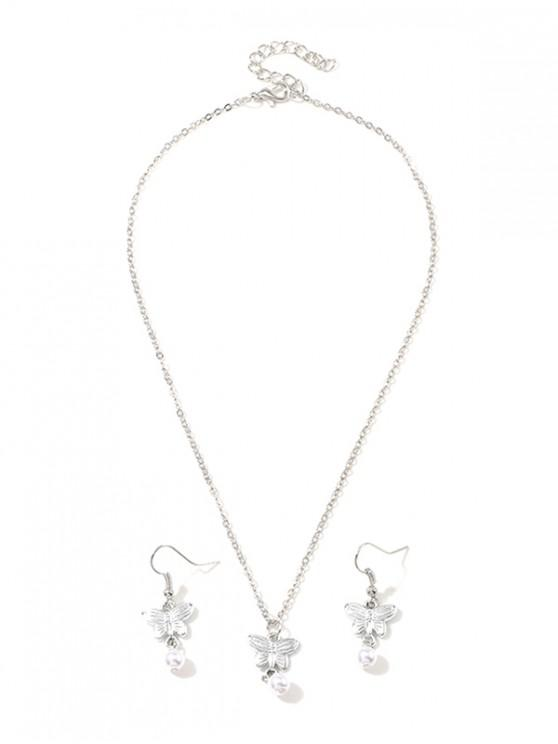 sale Artificial Pearl Butterfly Chain Necklace and Hook Earrings - SILVER