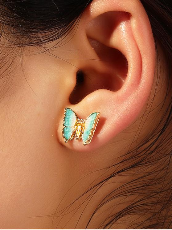 3D蝴蝶圖案耳釘 - 金