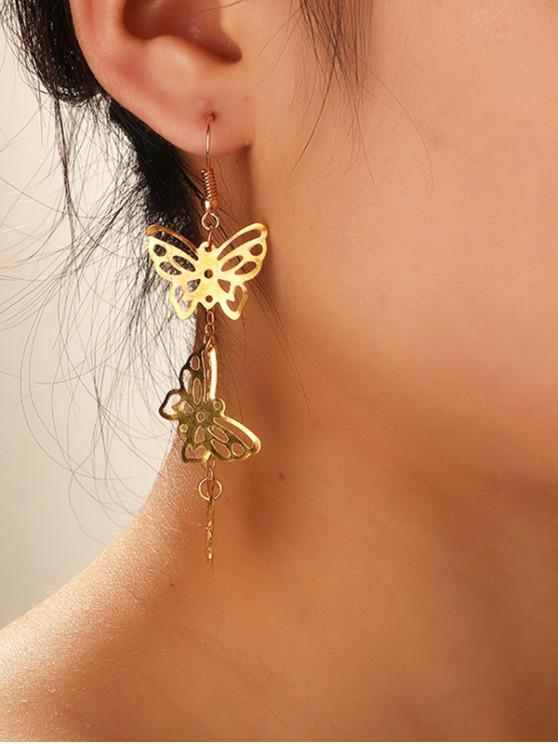 women's Metallic Hollowed Butterfly Shape Pendant Earrings - GOLD