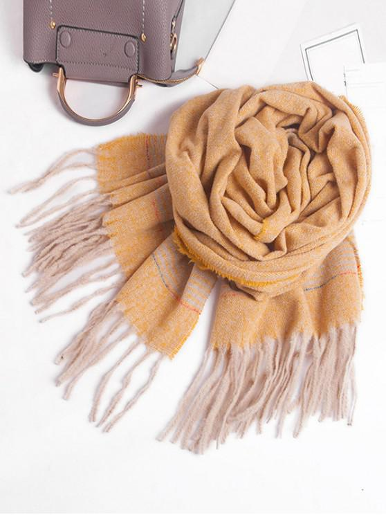 lady Winter Striped Fringed Knitted Scarf - YELLOW