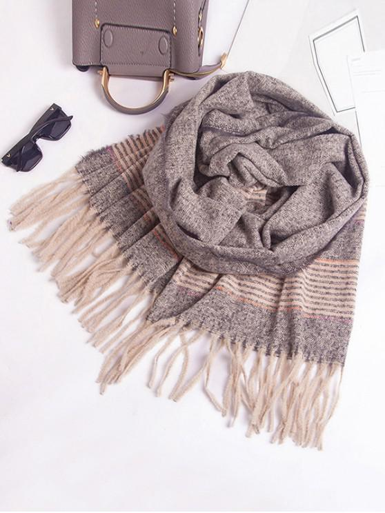 new Winter Striped Fringed Knitted Scarf - GRAY