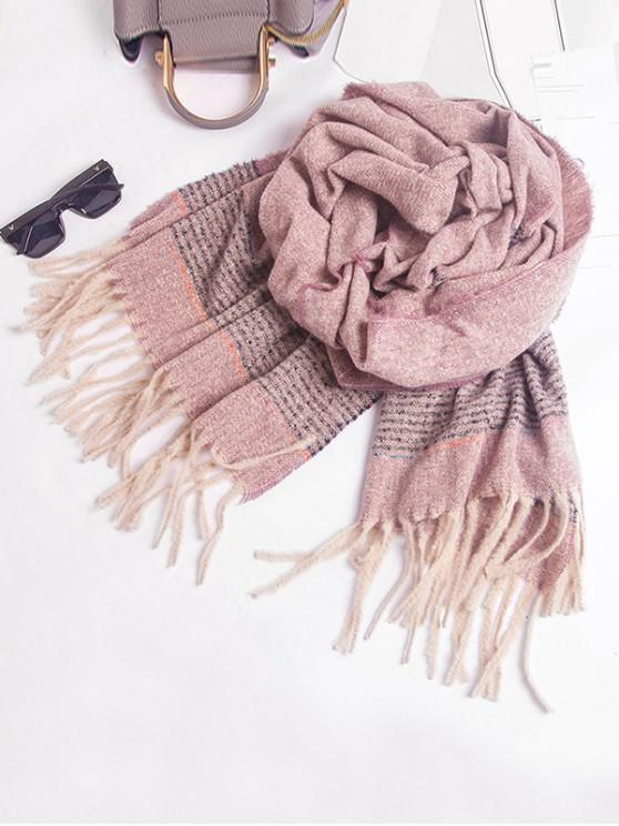 unique Winter Striped Fringed Knitted Scarf - PINK