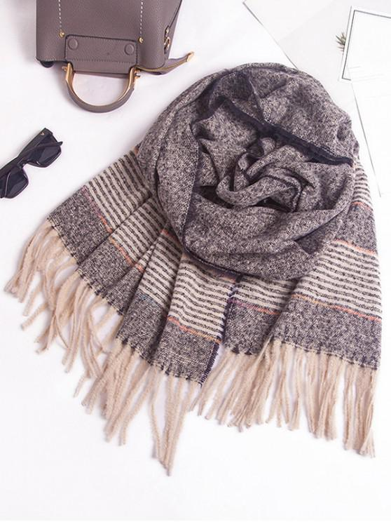 womens Winter Striped Fringed Knitted Scarf - BLACK