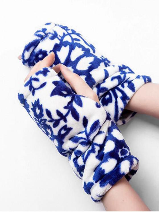 الفانيلا ليوبارد طباعة قفازات أصابع - أزرق