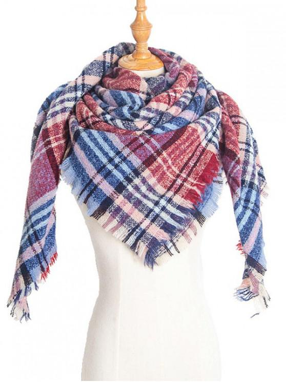 women Plaid Pattern Fringed Deign Scarf - RED WINE