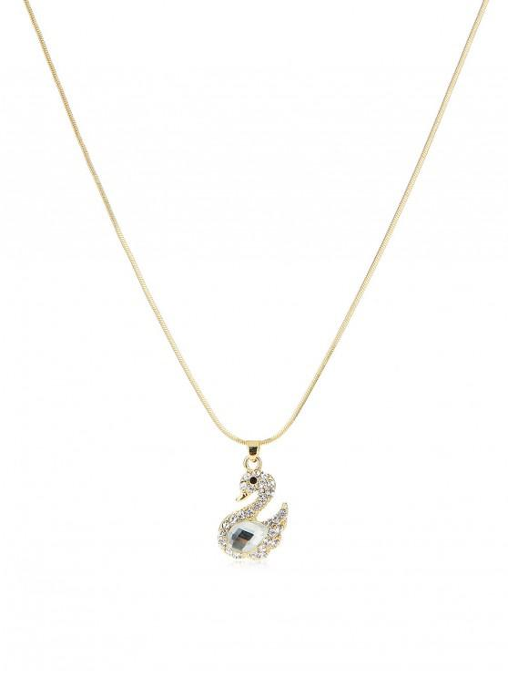 shop Teardrop Rhinestone Swan Pendant Snake Chain Necklace - GOLD