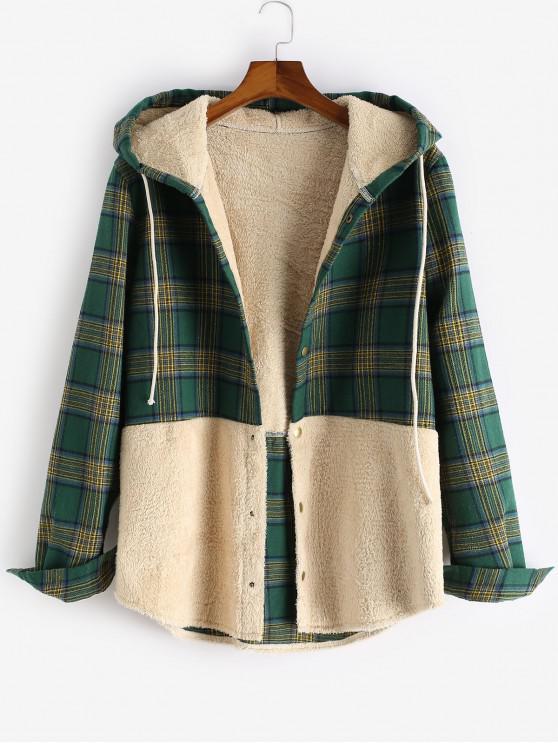 womens ZAFUL Letter Print Plaid Colorblock Fluffy Hooded Shirt Jacket - MULTI S
