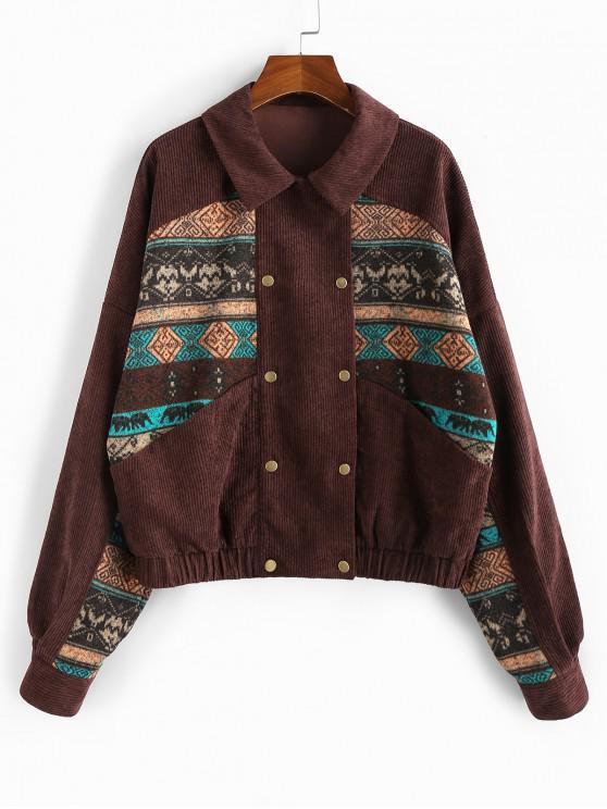 chic ZAFUL Tribal Print Corduroy Jacket - RED WINE M