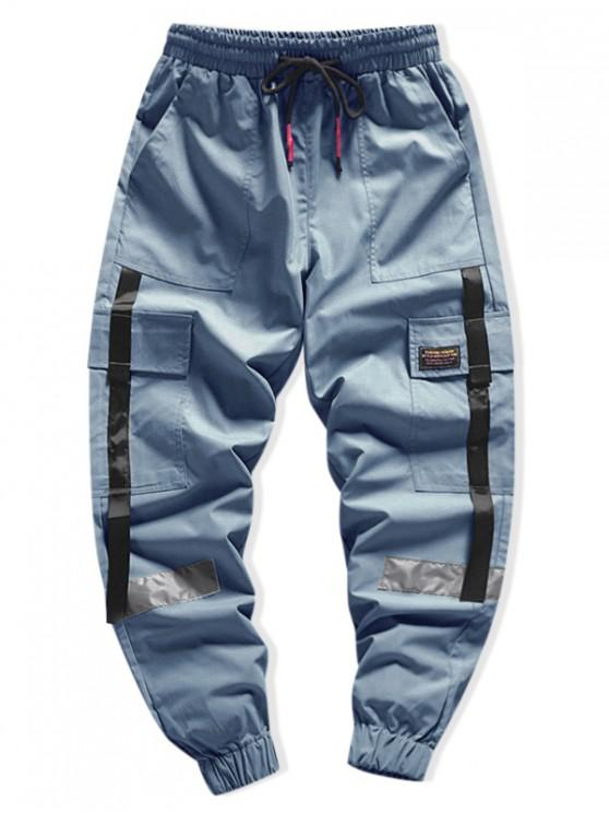 online Side Flap Pocket Spliced Applique Cargo Jogger Pants - BLUE L