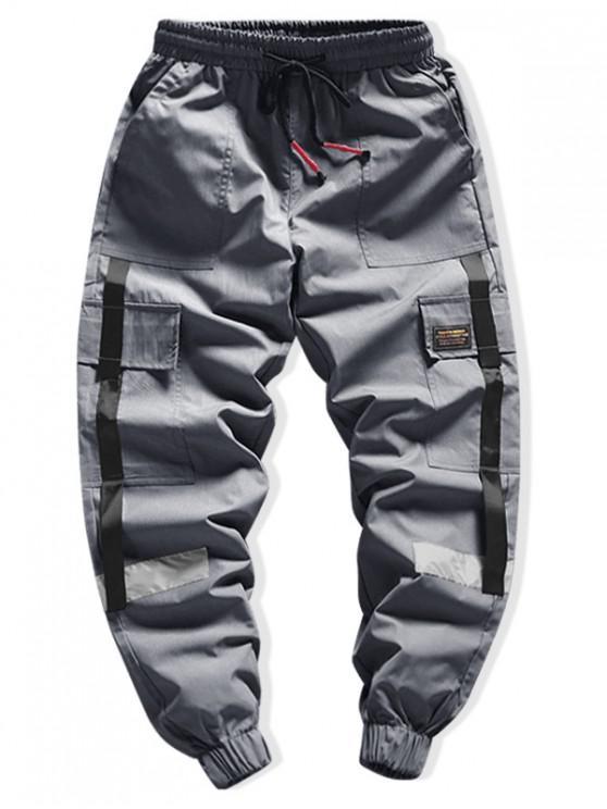 shops Side Flap Pocket Spliced Applique Cargo Jogger Pants - DARK GRAY M
