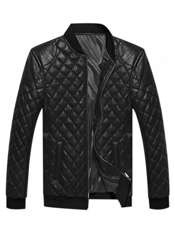 affordable Geometric Print PU Zip Up Jacket - BLACK XS