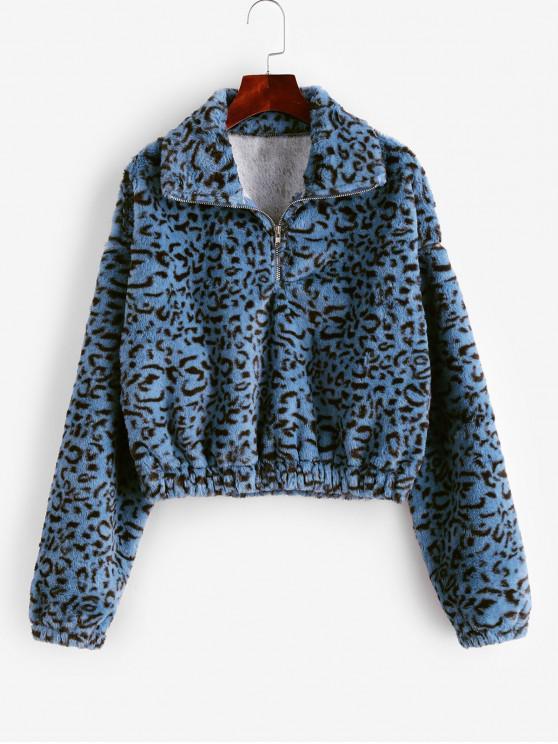Sweat-shirt Fourré Demi-Zip Léopard Imprimé - Multi-A M