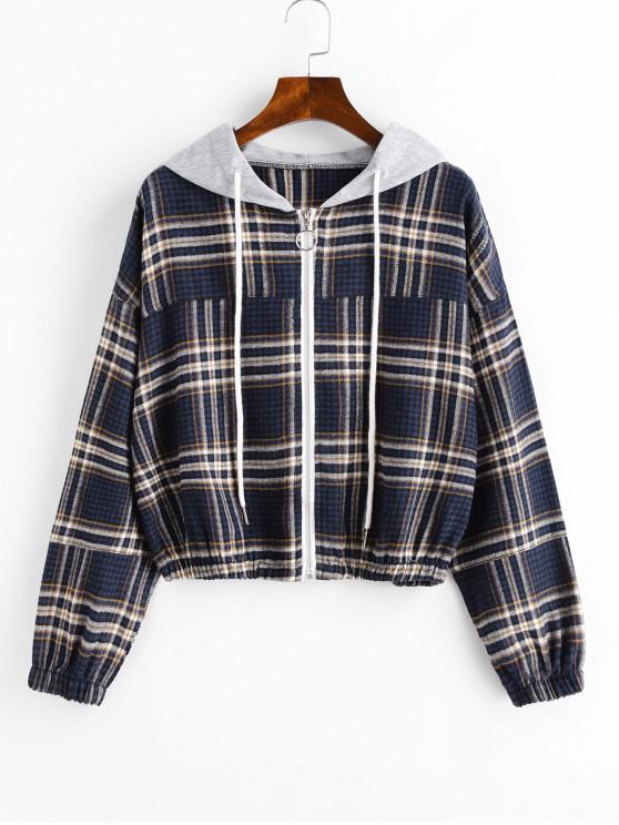 shop Zip Up Plaid Drawstring Hoodie - MULTI-A L