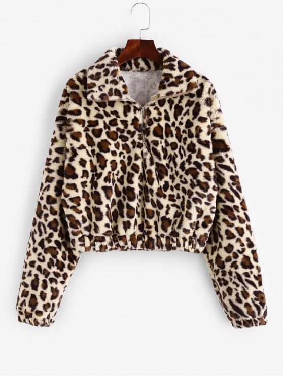 fancy Leopard Print Half Zip Fluffy Sweatshirt - MULTI-B S