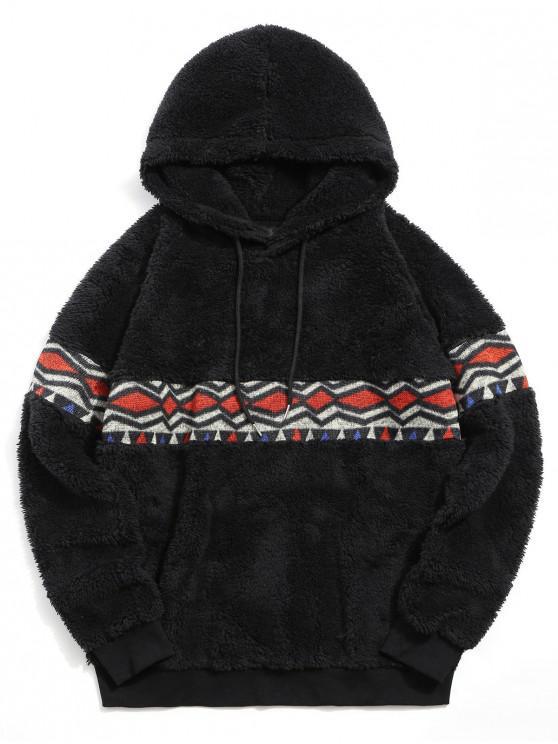 trendy Argyle Printed Winter Fleece Hoodie - BLACK L