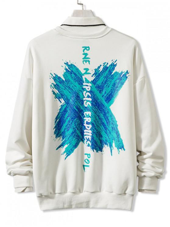 trendy Cross Stroke Graphic Drop Shoulder Lounge Sweatshirt - WHITE 3XL