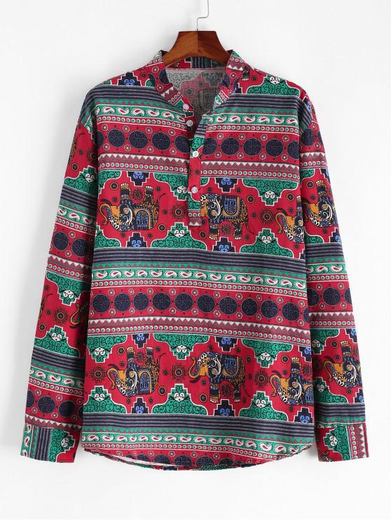 Etnice Elephant Print Stand Guler lenjerie Shirt - Multi 3XL
