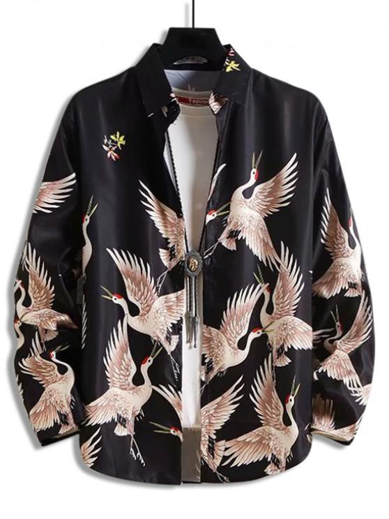 lady Flying Crane Floral Print Button Long Sleeve Shirt - MULTI M