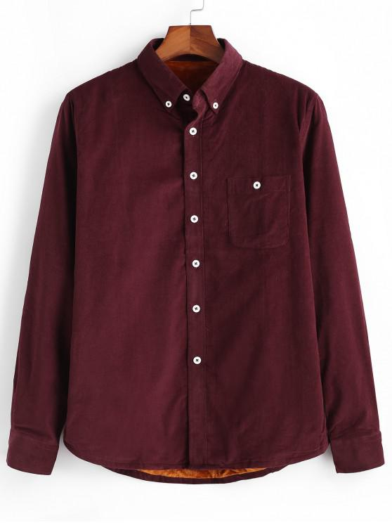 Einfarbiger Cord Fleece Hemd - Roter Wein L