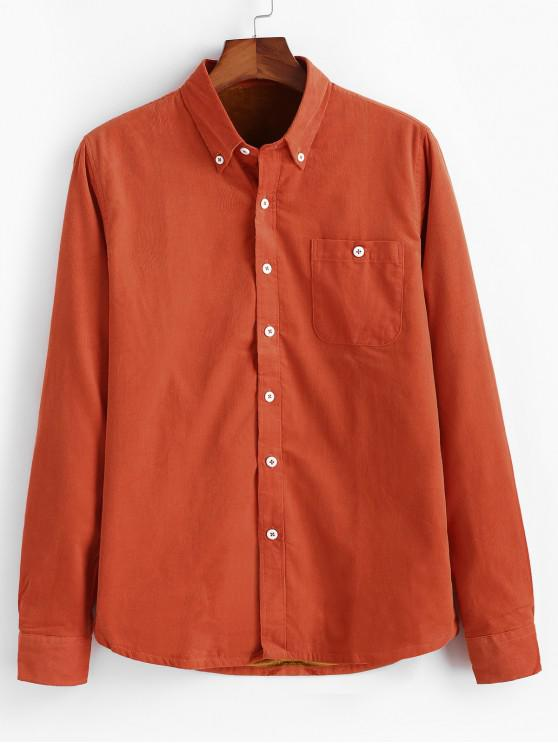 Einfarbiger Cord Fleece Hemd - Kürbis Orange L