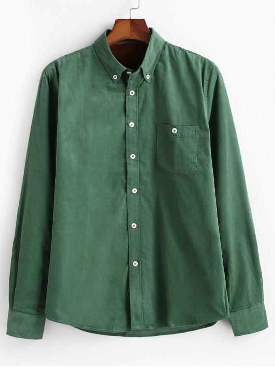 unique Plain Pocket Corduroy Fleece Shirt - DEEP GREEN S