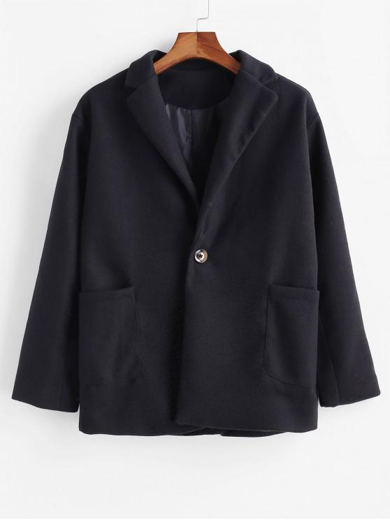 Einfarbiger Tasche Ein Knopf Mantel - Schwarz 2XL