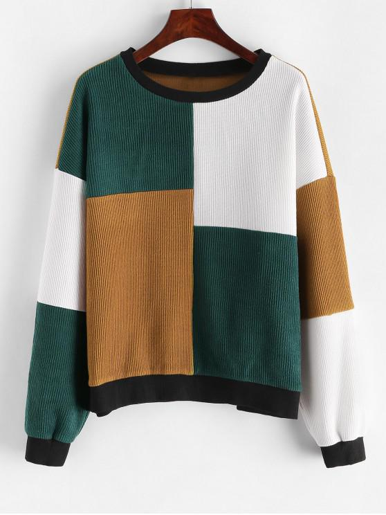 lady ZAFUL Colorblock Crew Neck Loose Sweatshirt - MULTI L