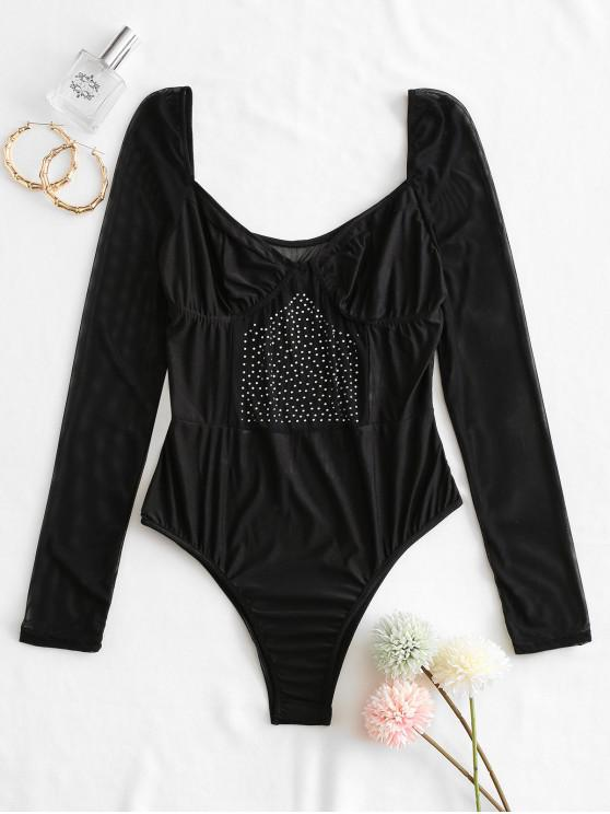 outfits Rhinestone Mesh Insert Cupped Lingerie Teddy - BLACK S